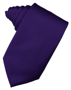 Purple Solid Satin Suit Tie - Tuxedo Club