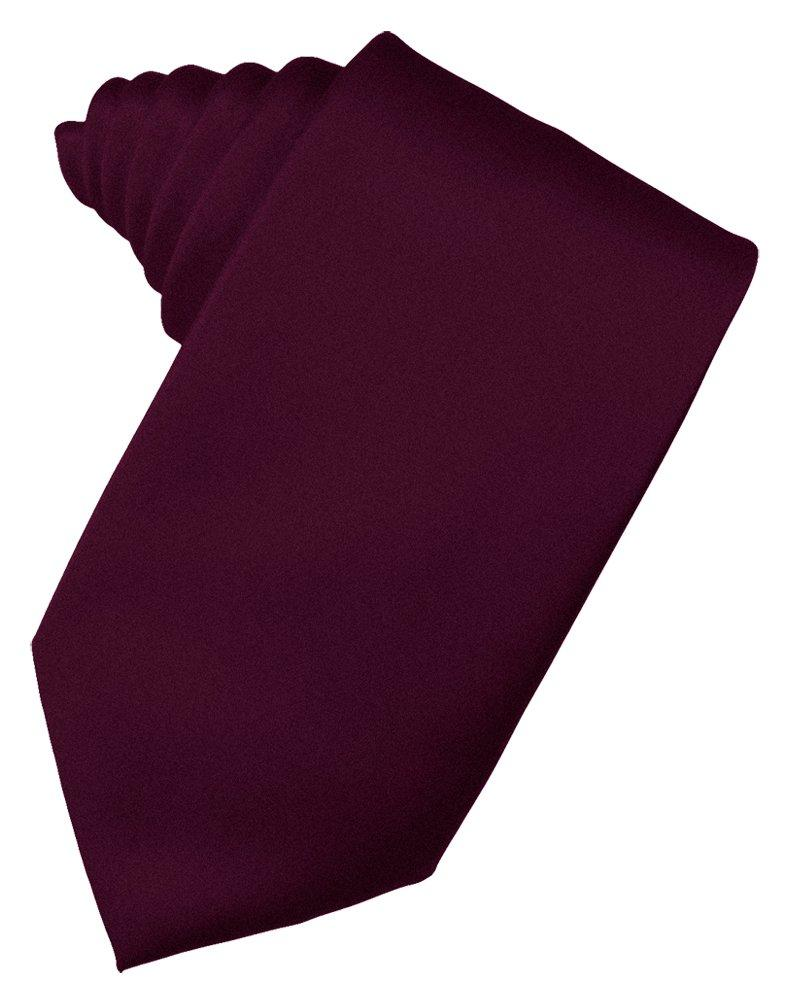 Wine Solid Satin Suit Tie - Tuxedo Club