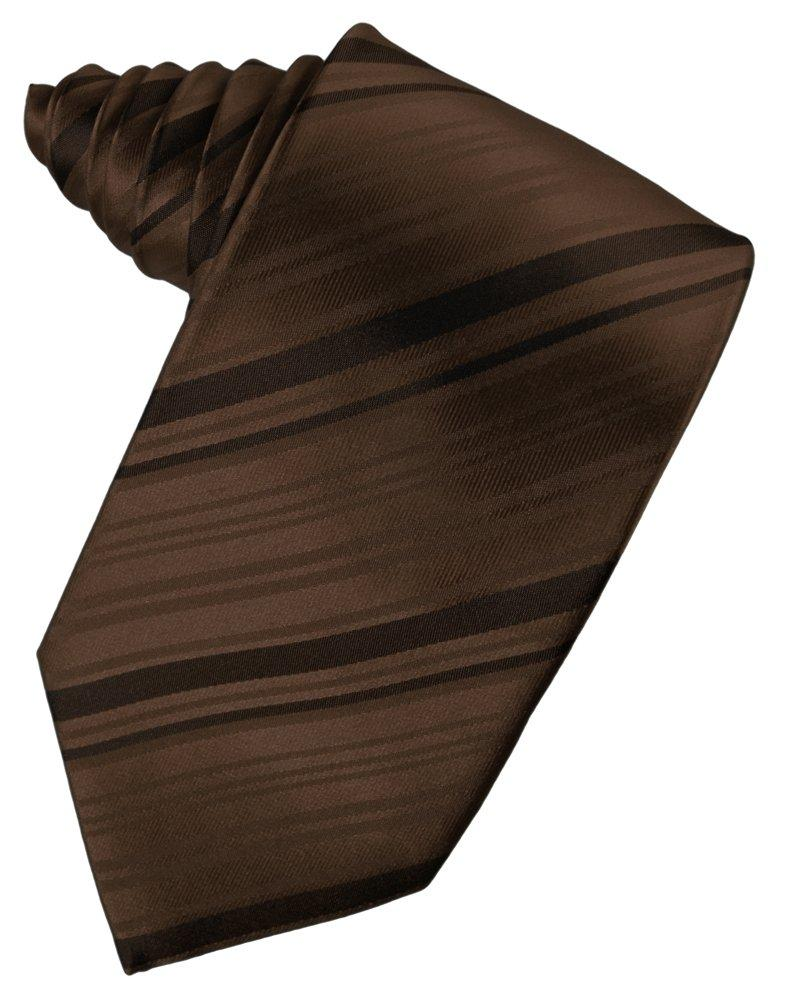 Chocolate Striped Satin Suit Tie - Tuxedo Club