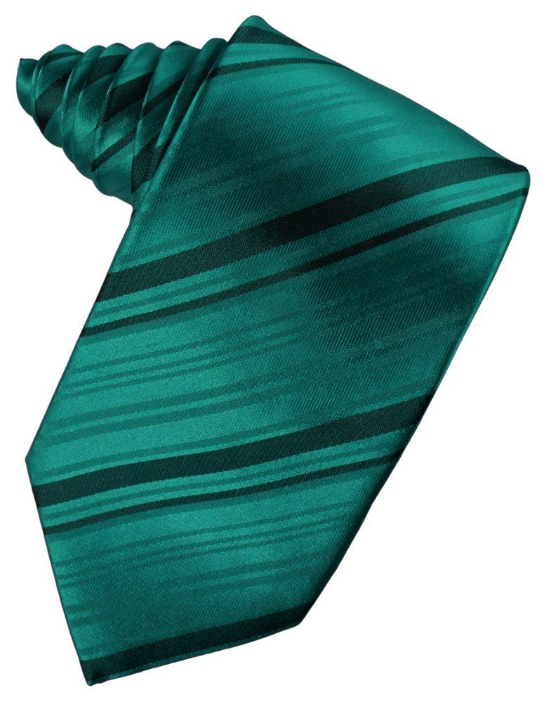 Jade Striped Satin Suit Tie - Tuxedo Club