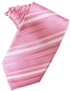 Rose Petal Striped Satin Suit Tie - Tuxedo Club
