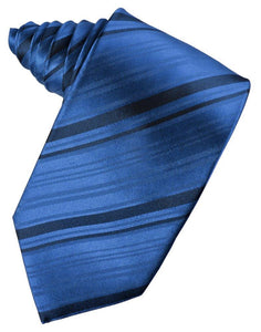 Royal Blue Striped Satin Suit Tie - Tuxedo Club