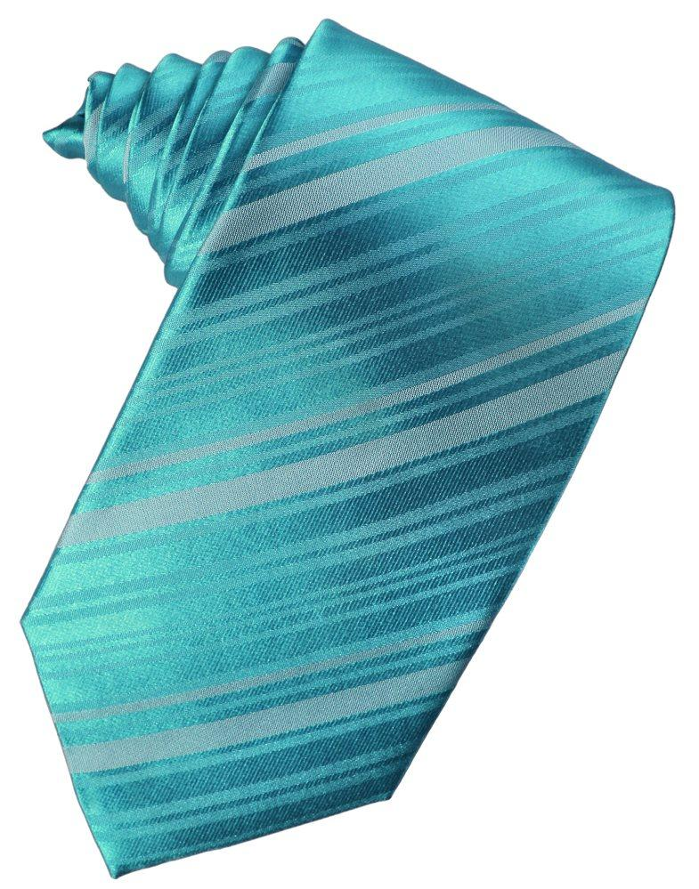 Turquoise Striped Satin Suit Tie - Tuxedo Club