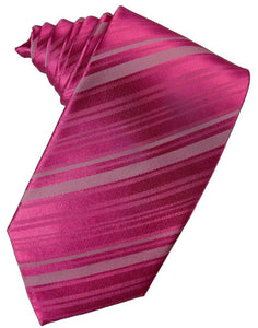 Watermelon Striped Satin Suit Tie - Tuxedo Club