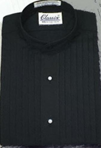 Mandarin Pleated Black Tuxedo Shirt - Tuxedo Club