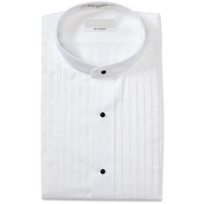 Mandarin Pleated White Tuxedo Shirt - Tuxedo Club