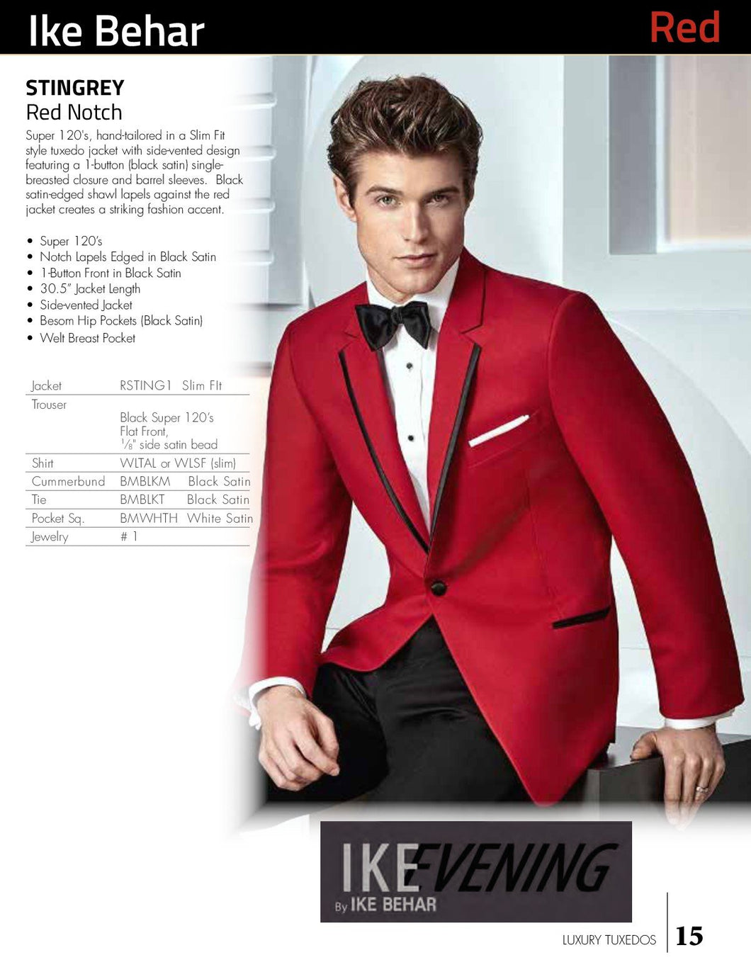 'Stingray' Red 1-Button Notch Tuxedo - Tuxedo Club