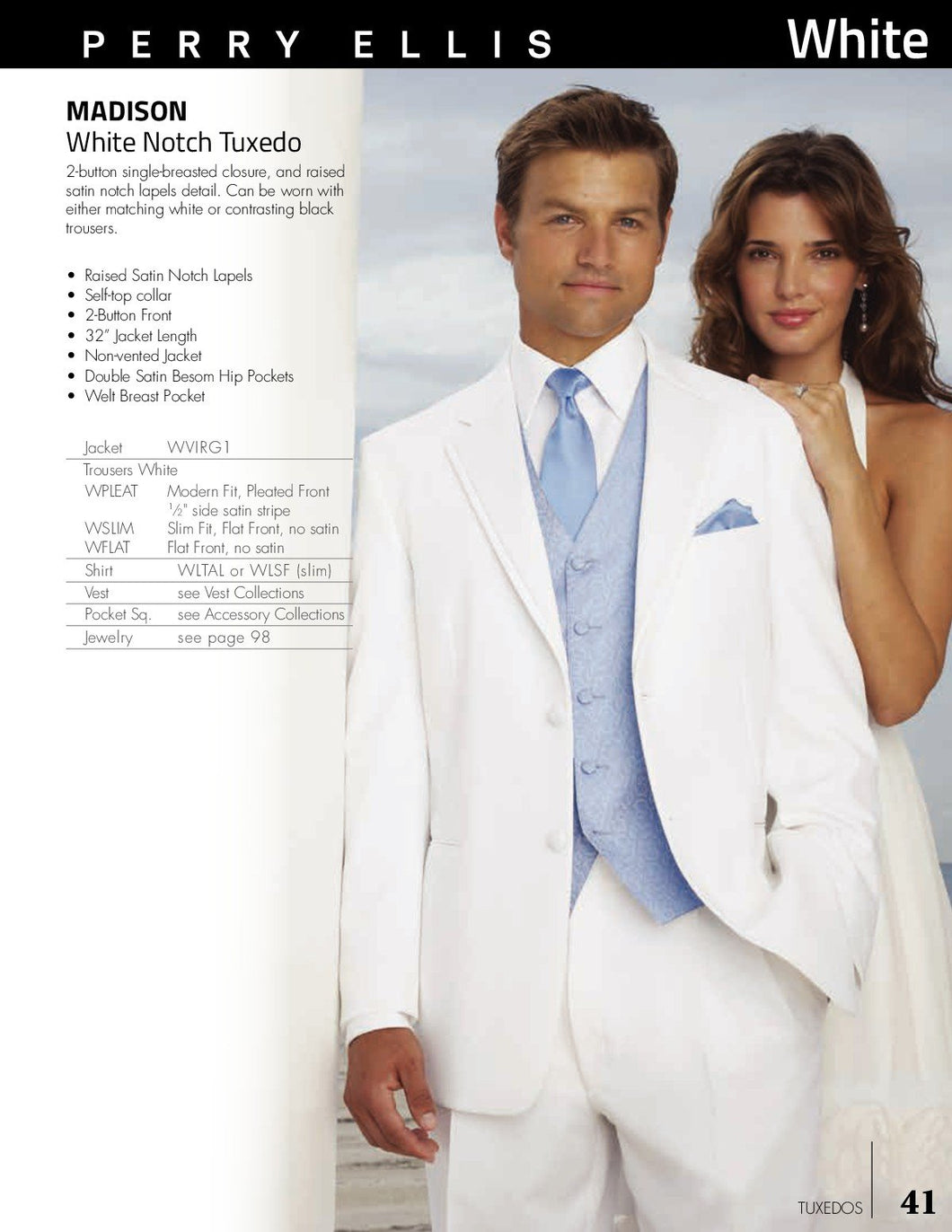 'Madison' White 2-Button Notch Tuxedo - Tuxedo Club