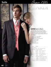 Load image into Gallery viewer, 'Aspen' Black 2-Button Notch Suit - Super 150 - Tuxedo Club