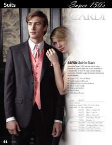 'Aspen' Black 2-Button Notch Suit - Super 150 - Tuxedo Club