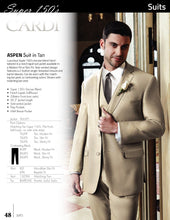 Load image into Gallery viewer, 'Aspen' Tan 2-Button Notch Suit - Super 150 - Tuxedo Club