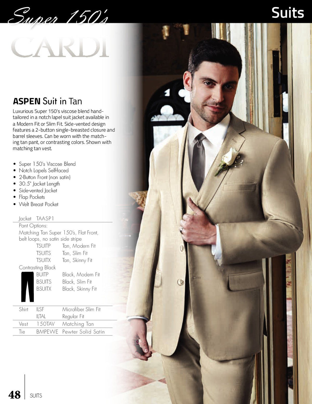 'Aspen' Tan 2-Button Notch Suit - Super 150 - Tuxedo Club