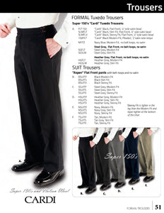 Black 150's Flat Front Suit Pants - Tuxedo Club