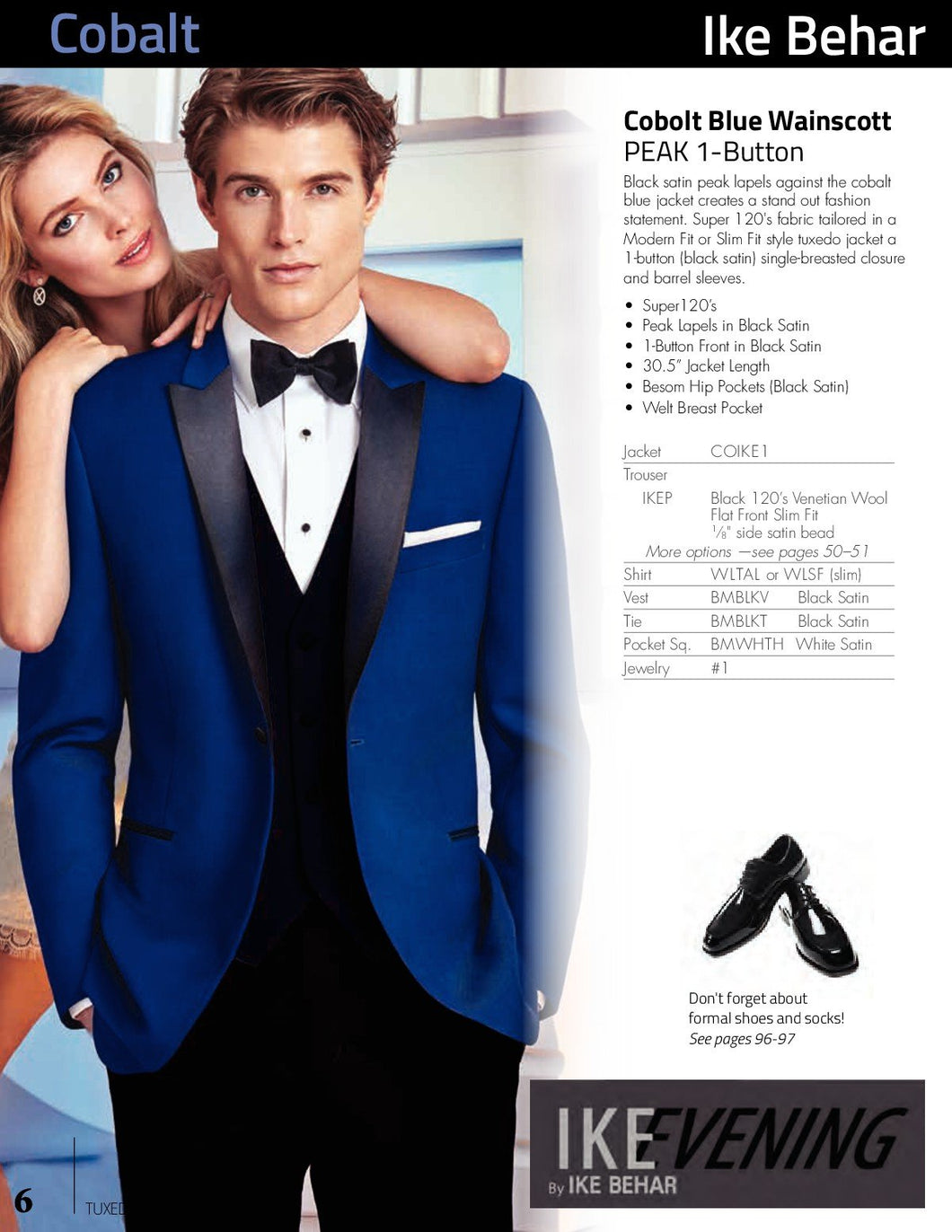 'Wainscott' Royal Blue 1-Button Peak Tuxedo - Tuxedo Club