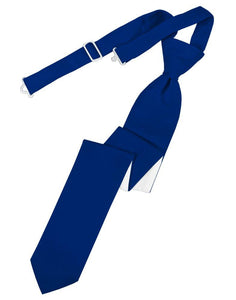 Royal Blue Solid Satin Skinny Tie - Tuxedo Club