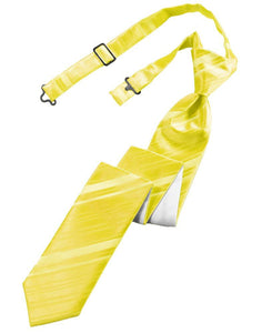 Lemon Striped Satin Skinny Tie - Tuxedo Club