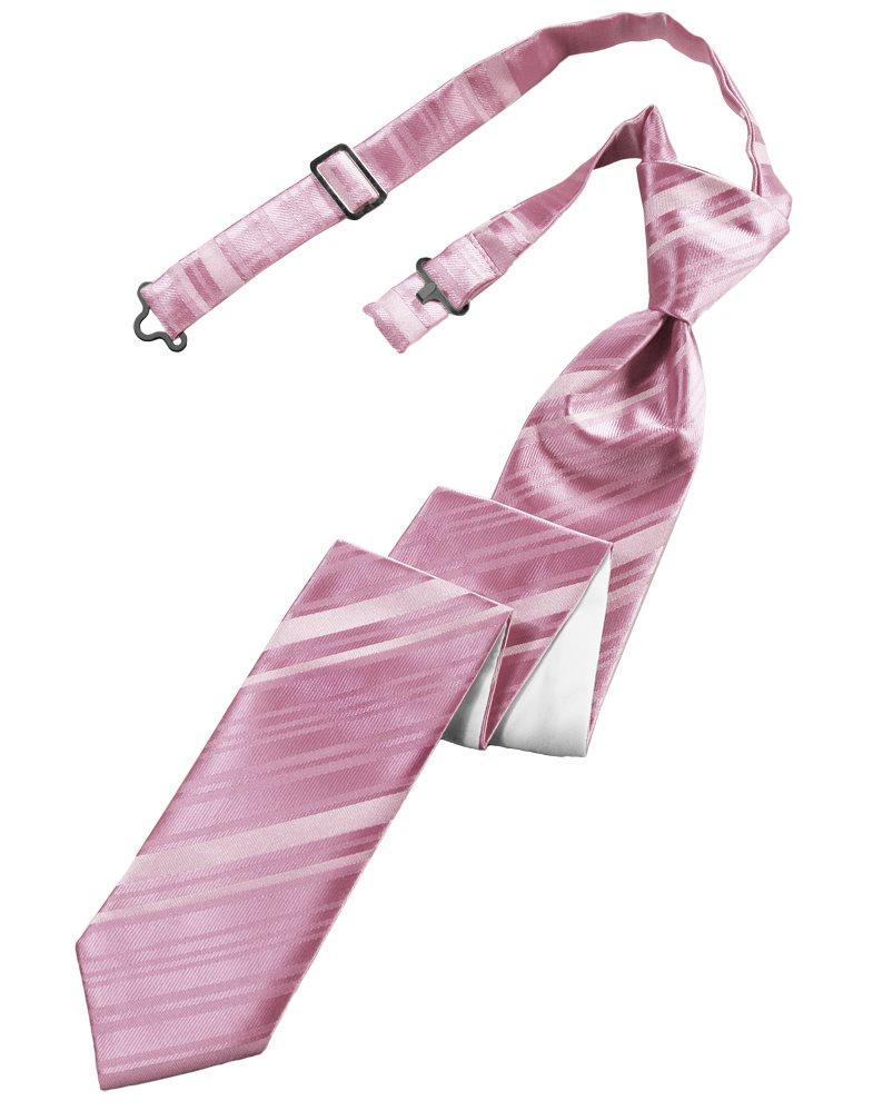 Rose Petal Striped Satin Skinny Tie - Tuxedo Club