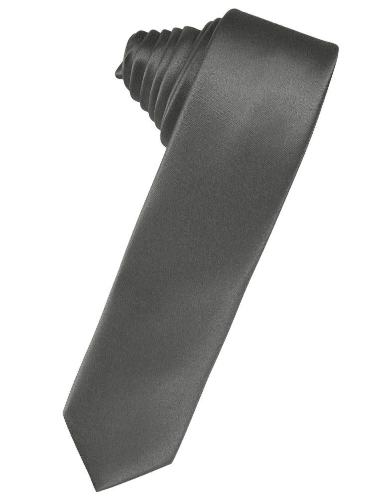 Charcoal Solid Satin Skinny Suit Tie - Tuxedo Club