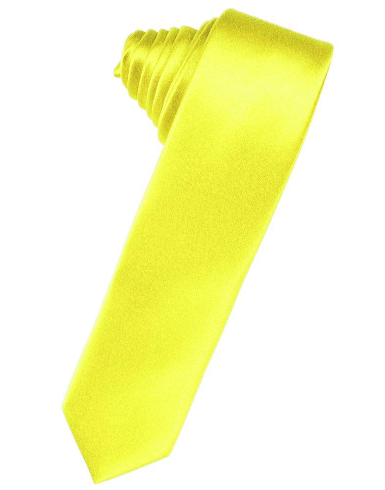 Lemon Solid Satin Skinny Suit Tie - Tuxedo Club