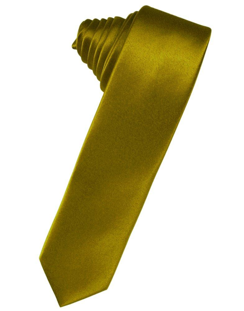 New Gold Solid Satin Skinny Suit Tie - Tuxedo Club