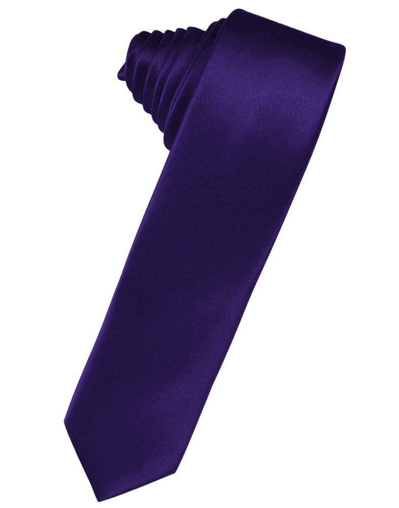 Purple Solid Satin Skinny Suit Tie - Tuxedo Club