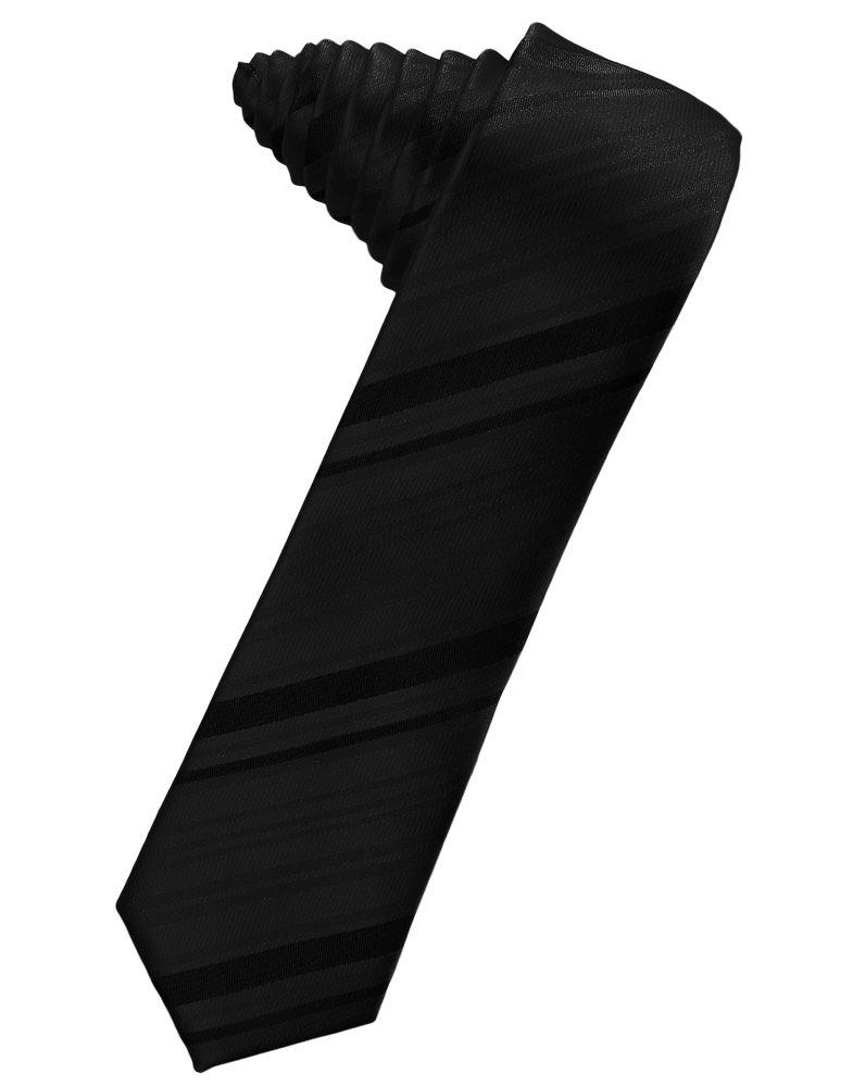 Black Striped Satin Skinny Suit Tie - Tuxedo Club