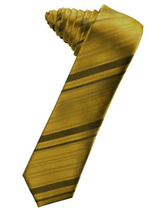 Golden Striped Satin Skinny Suit Tie - Tuxedo Club