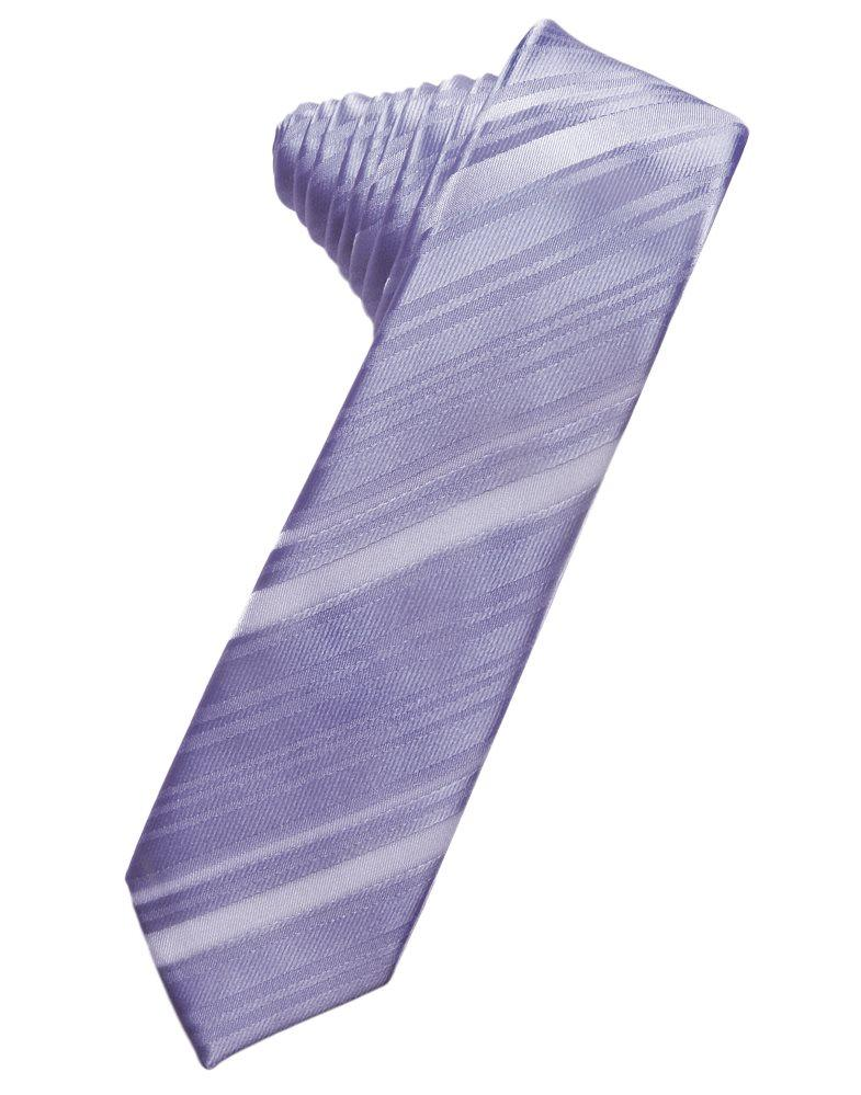Periwinkle Striped Satin Skinny Suit Tie - Tuxedo Club