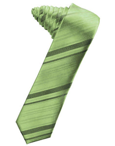 Sage Striped Satin Skinny Suit Tie - Tuxedo Club