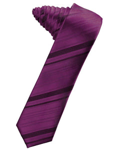 Sangria Striped Satin Skinny Suit Tie - Tuxedo Club