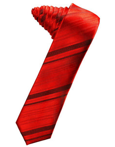 Scarlet Striped Satin Skinny Suit Tie - Tuxedo Club