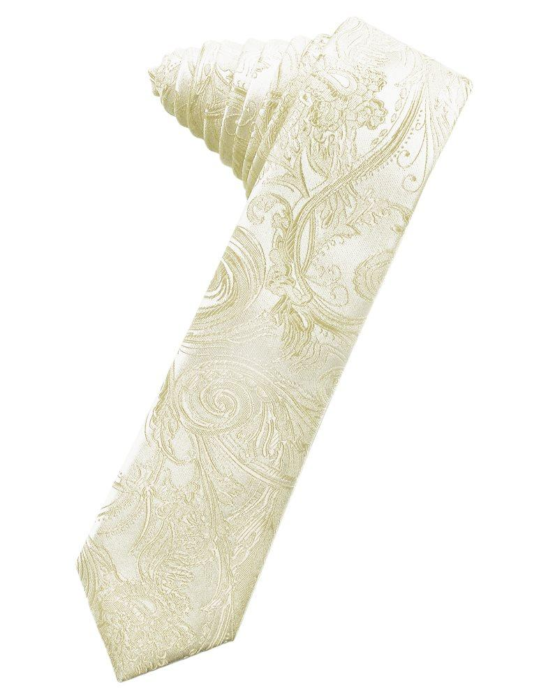 Ivory Tapestry Skinny Suit Tie - Tuxedo Club