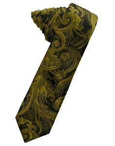 New Gold Tapestry Skinny Suit Tie - Tuxedo Club