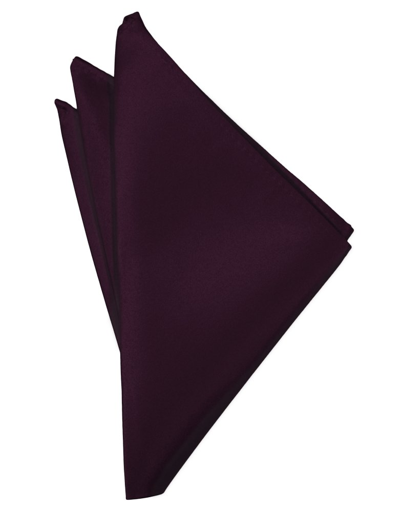 Berry Solid Satin Pocket Square - Tuxedo Club