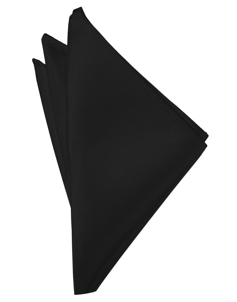 Black Solid Satin Pocket Square - Tuxedo Club