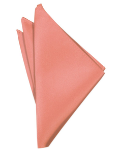 Coral Reef Solid Satin Pocket Square - Tuxedo Club