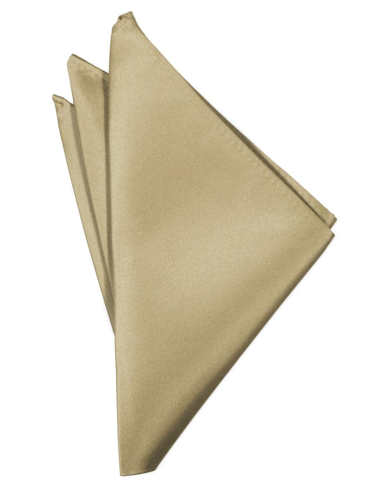 Golden Solid Satin Pocket Square - Tuxedo Club