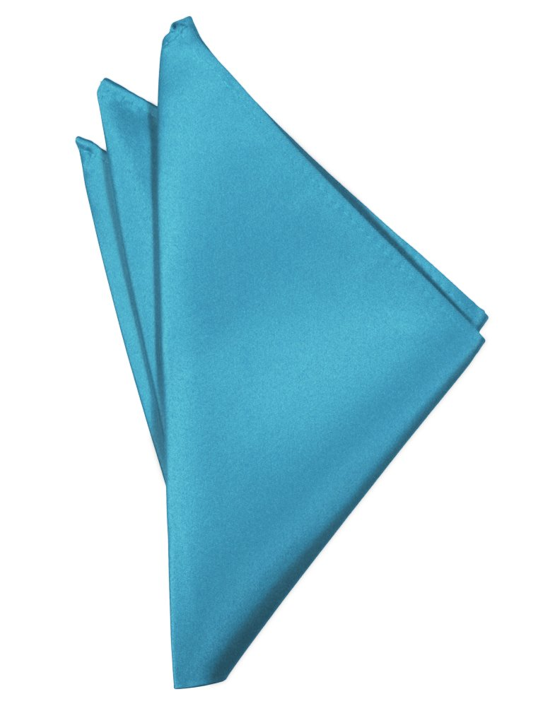 Turquoise Solid Satin Pocket Square - Tuxedo Club