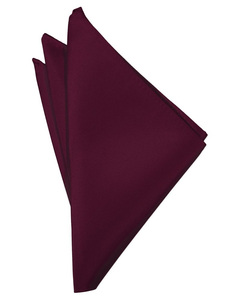 Wine Solid Satin Pocket Square - Tuxedo Club