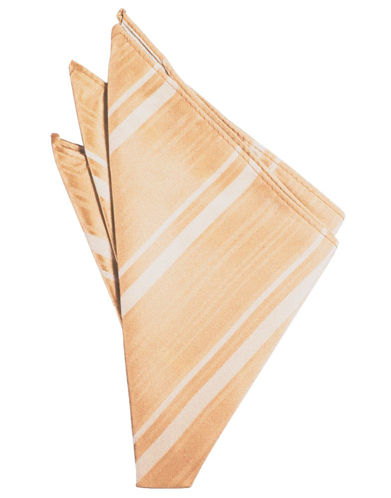 Apricot Striped Satin Pocket Square - Tuxedo Club
