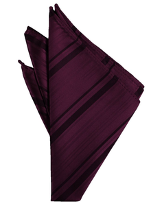 Berry Striped Satin Pocket Square - Tuxedo Club
