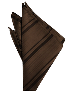 Chocolate Striped Satin Pocket Square - Tuxedo Club