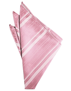 Coral Striped Satin Pocket Square - Tuxedo Club