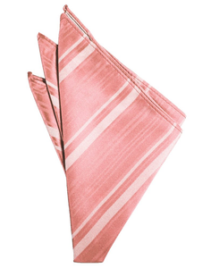 Coral Reef Striped Satin Pocket Square - Tuxedo Club
