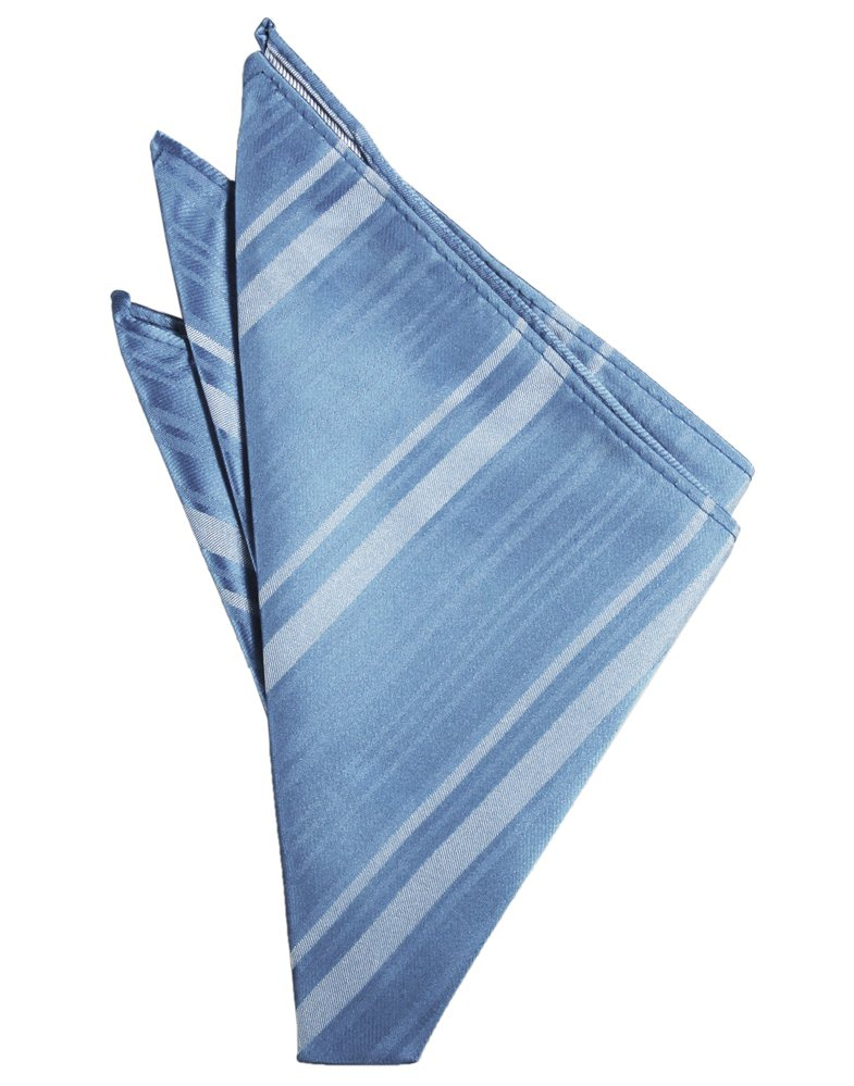Cornflower Striped Satin Pocket Square - Tuxedo Club