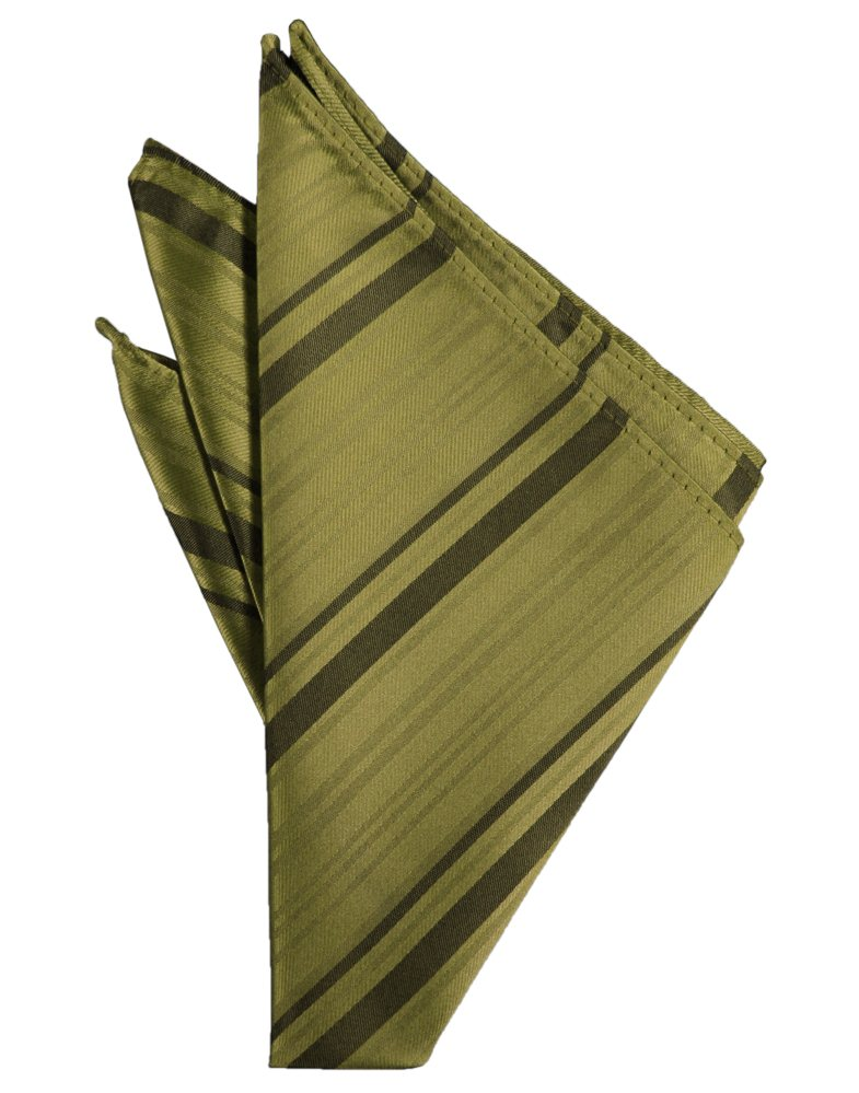 Fern Striped Satin Pocket Square - Tuxedo Club