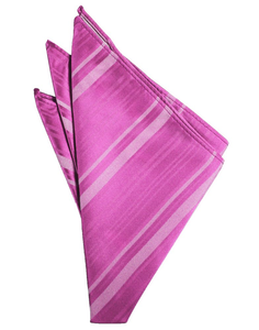 Fuchsia Striped Satin Pocket Square - Tuxedo Club
