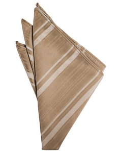 Latte Striped Satin Pocket Square - Tuxedo Club