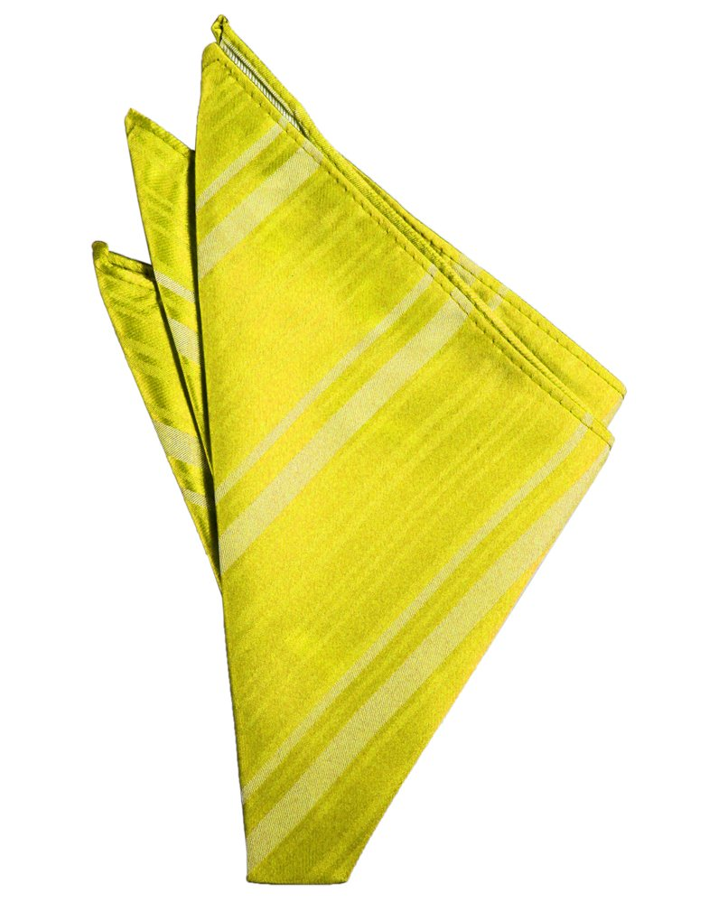 Lemon Striped Satin Pocket Square - Tuxedo Club