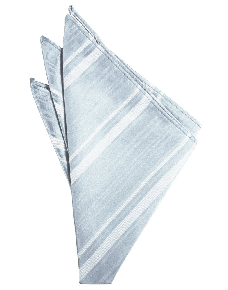 Light Blue Striped Satin Pocket Square - Tuxedo Club